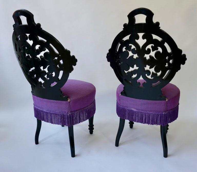 Two Black Mid-Victorian Rococo Revival Side Chairs with Upholstery For Sale 1