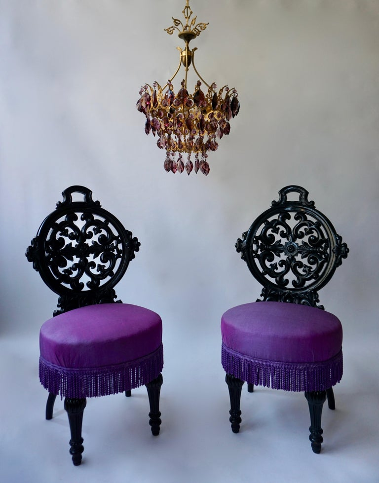 Two Black Mid-Victorian Rococo Revival Side Chairs with Upholstery For Sale 3
