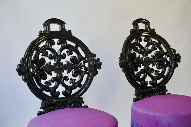 Two Black Mid-Victorian Rococo Revival Side Chairs with Upholstery For Sale 4
