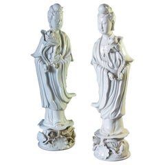 Two Blanc de Chine Dehua Figures of Guanyin