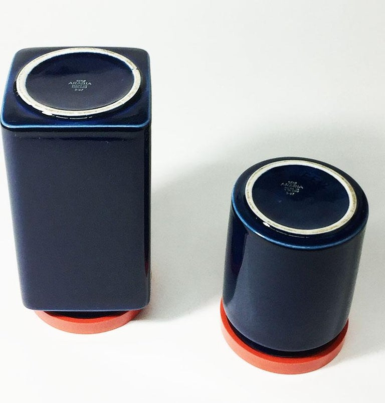 Finnish Two Blue and Red Arabia Finland Stock Jars, 1949-1954 For Sale
