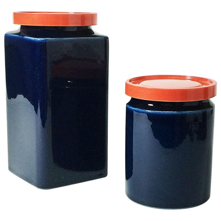 Two Blue and Red Arabia Finland Stock Jars, 1949-1954 For Sale
