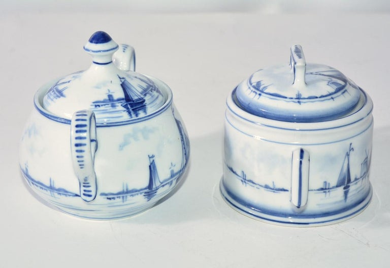 Hand-Painted Two Blue and White Vintage German Sugar Bowls For Sale