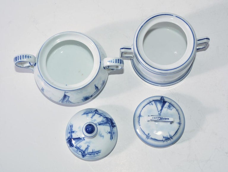 20th Century Two Blue and White Vintage German Sugar Bowls For Sale