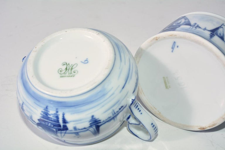 Pottery Two Blue and White Vintage German Sugar Bowls For Sale