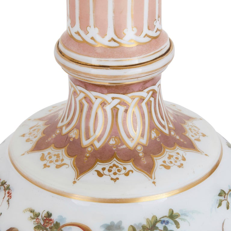 19th Century Two Bohemian Opaline Glass Vases with Painted Cherub Scenes For Sale