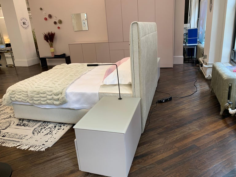 Canadian Pair of M2L Brand Cabinetry Nightstands with Foster+Partners Flo lamps For Sale