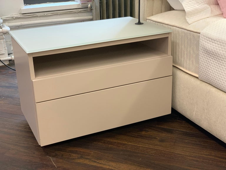 Contemporary Pair of M2L Brand Cabinetry Nightstands with Foster+Partners Flo lamps For Sale
