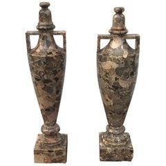 Pair Breccia Marble Amphora Urns