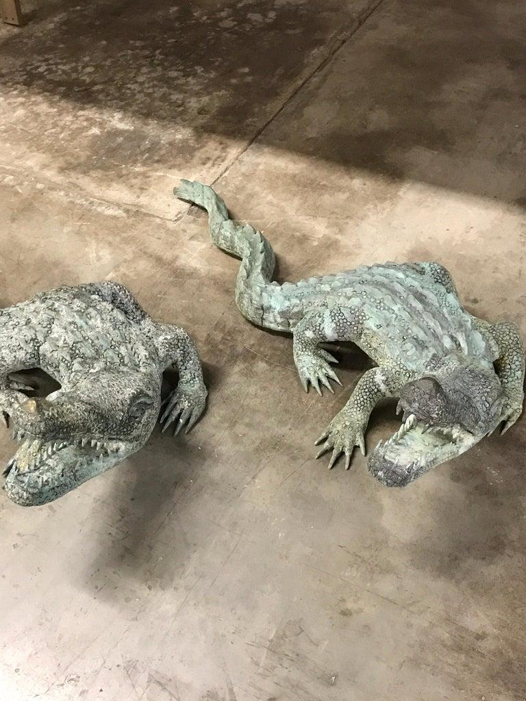 European Two Bronze Sculptures of Alligators For Sale