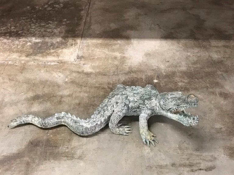 Cast Two Bronze Sculptures of Alligators For Sale