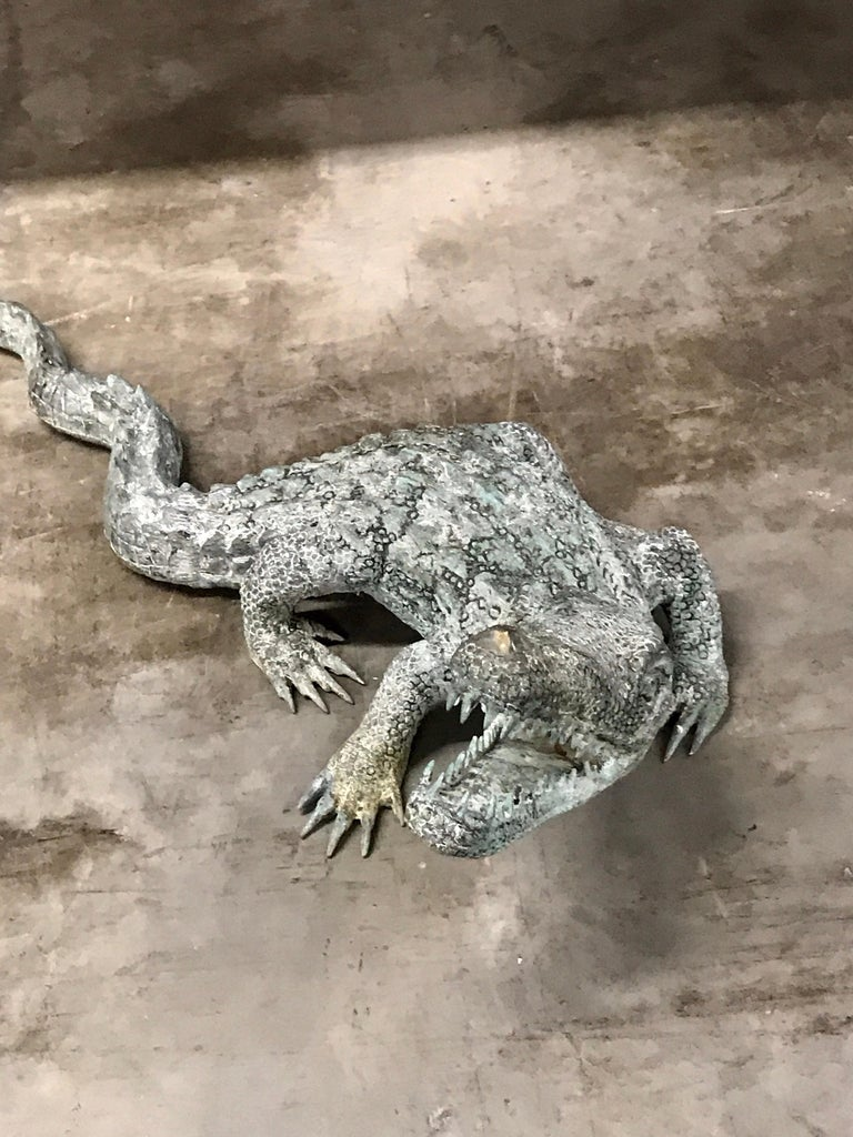 Two Bronze Sculptures of Alligators For Sale 2