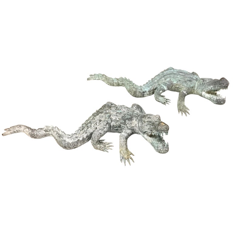 Two Bronze Sculptures of Alligators For Sale