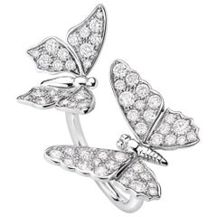 Two Butterfly Diamonds and 18 Karat White Gold Ring by Édéenne, Paris