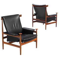 "Two ""Bwana"" Chairs with Black Leather by Finn Juhl"
