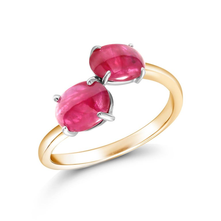 Oval Cut Two Cabochon Burma Rubies Facing Gold Cocktail Ring Weighing 3.90 Carats For Sale
