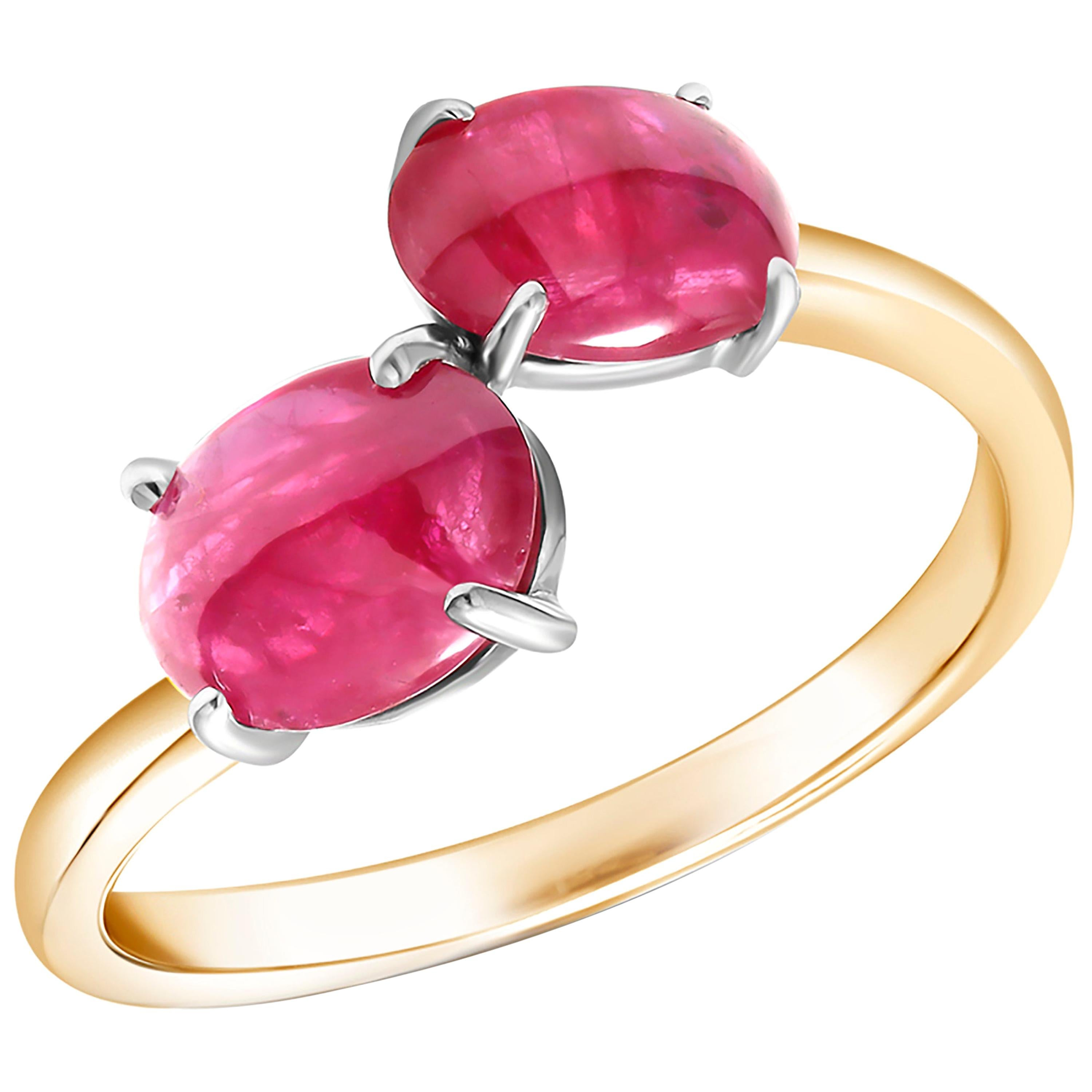 Two Cabochon Burma Rubies Facing Gold Cocktail Ring Weighing 3.90 Carats