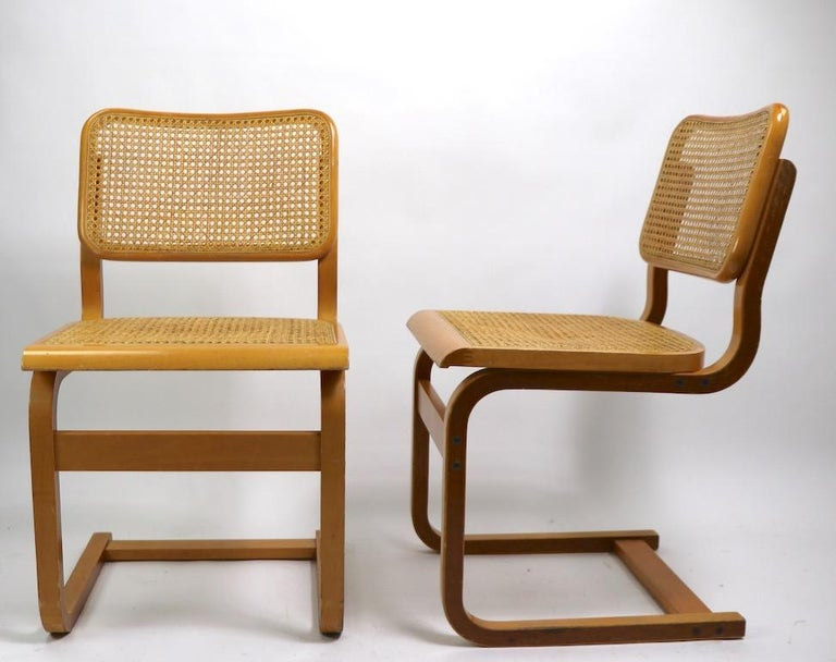 Two Cantilever Cane and Bentwood Dining Chairs after Alto and Breuer For Sale 4