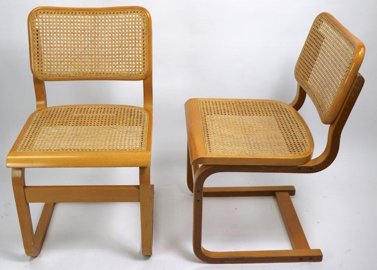 Two Cantilever Cane and Bentwood Dining Chairs after Alto and Breuer For Sale 5
