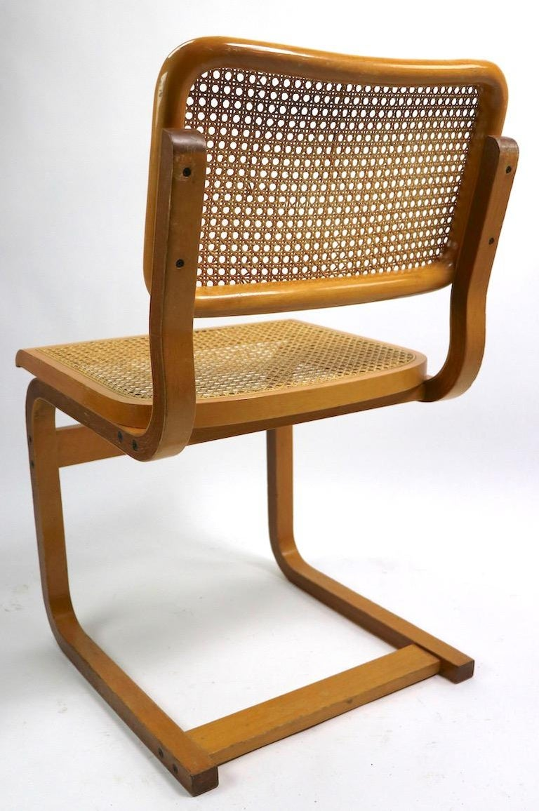 20th Century Two Cantilever Cane and Bentwood Dining Chairs after Alto and Breuer For Sale