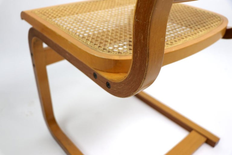 Two Cantilever Cane and Bentwood Dining Chairs after Alto and Breuer For Sale 2