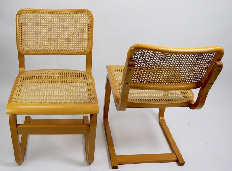 Two Cantilever Cane and Bentwood Dining Chairs after Alto and Breuer For Sale 3