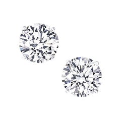 Two Carat Each NEW Diamond Ear Studs Triple Excellent GIA H VS in Platinum