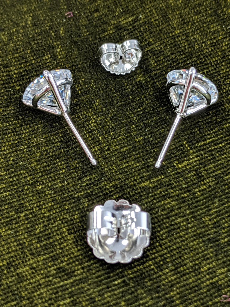 Contemporary Two Carat Each Diamond Ear Studs Triple Excellent GIA in Platinum For Sale