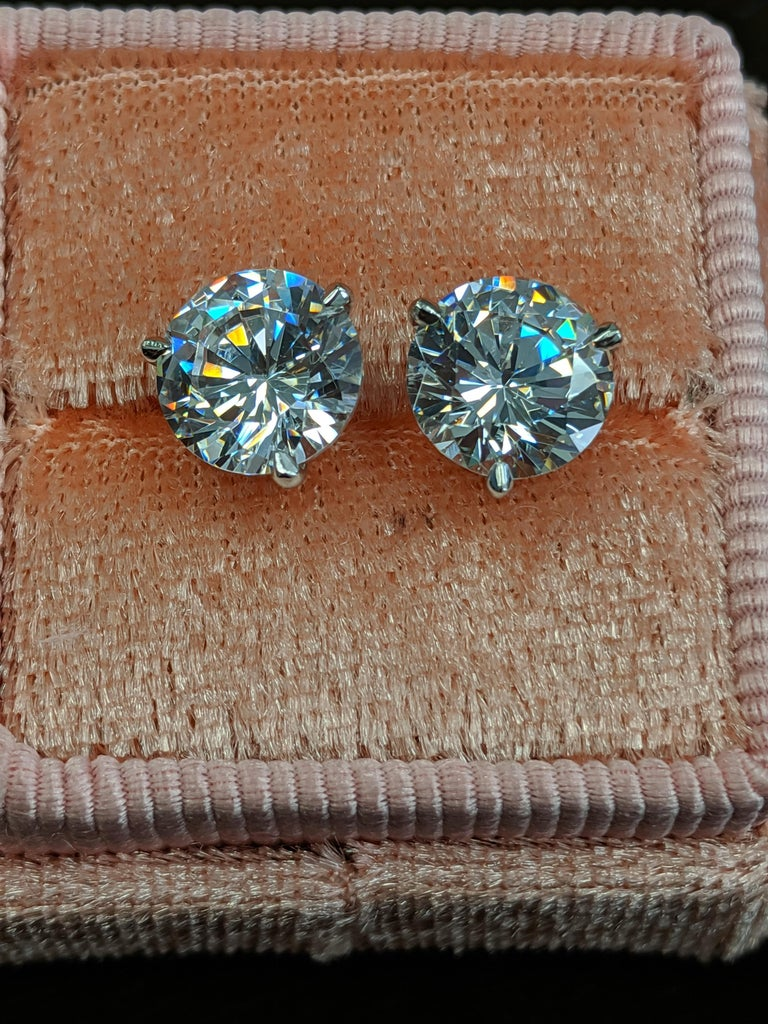 Round Cut Two Carat Each Diamond Ear Studs Triple Excellent GIA in Platinum For Sale