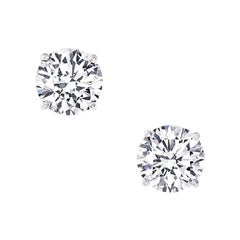 Two Carat Each Diamond Ear Studs Triple Excellent GIA in Platinum