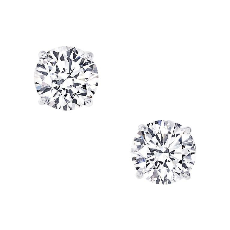 Two Carat Each Diamond Ear Studs Triple Excellent GIA in Platinum For Sale