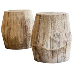 Two Carved and Shaped Solid Oak Block Stools