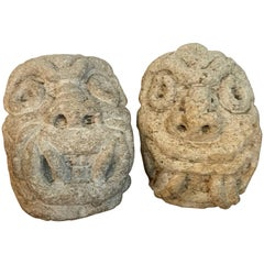 Two Carved Mayan Deity Limestone Architectural Carvings or Elements
