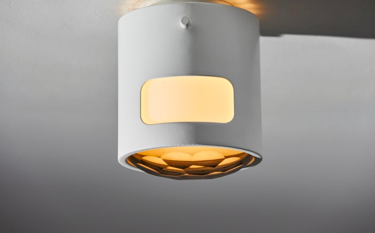 Two ceiling lights. Manufactured in Italy, circa 1960s. Powder coated brass and faceted glass. Rewired for U.S. junction boxes. Each light takes one E27 60w maximum bulb. Bulb provided as a onetime courtesy.