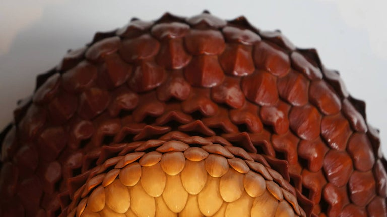 20th Century Two Ceramic and Brass Artichoke Table Lamps For Sale