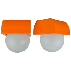 Two Ceramic Ceiling or Wall Lamps, circa 1970s