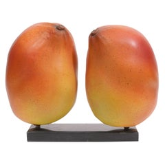 Two Ceramic Mango Sculptures on a Marble Base by Milwaukee Artist Marc Sejan