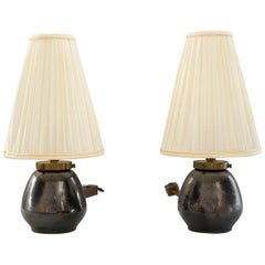 Two Ceramic Table Lamps with Fabric Shade, Vienna, circa 1960s