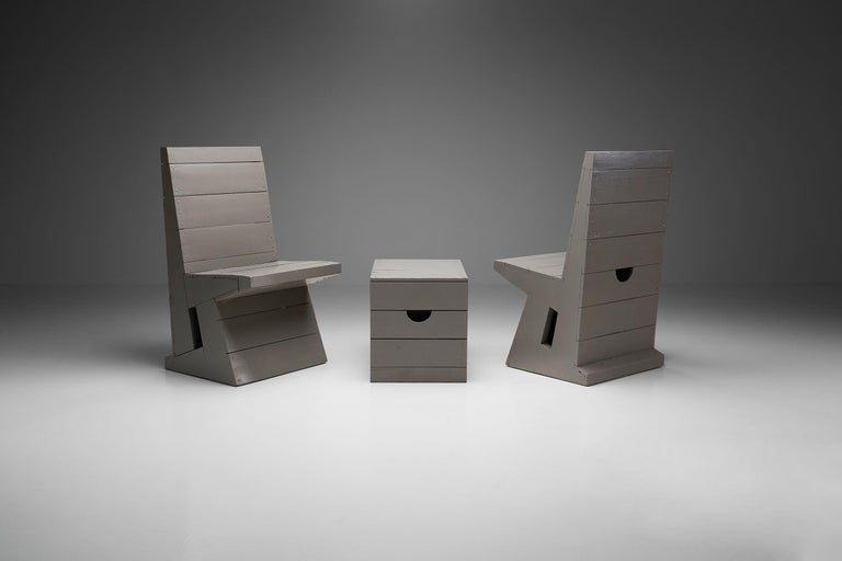 Mid-Century Modern Two Chairs and Stool by Dom Hans van der Laan, Netherlands, 1960s For Sale