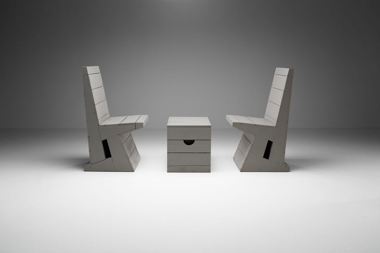 Two Chairs and Stool by Dom Hans van der Laan, Netherlands, 1960s In Good Condition For Sale In Utrecht, NL