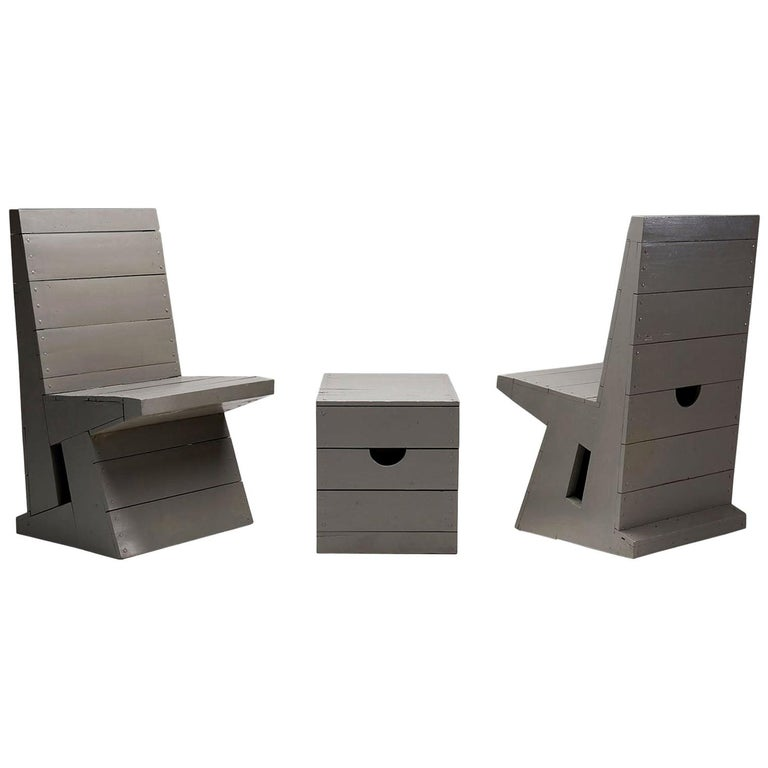Two Chairs and Stool by Dom Hans van der Laan, Netherlands, 1960s For Sale