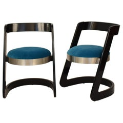 Two Chairs by Willy Rizzo Black Lacquered Wood and Velvet Seat for Mario Sabot