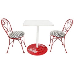 Two Chairs Cast Iron Marble-Top Table Coca-Cola Dinette Ice Cream Set Cafe Table