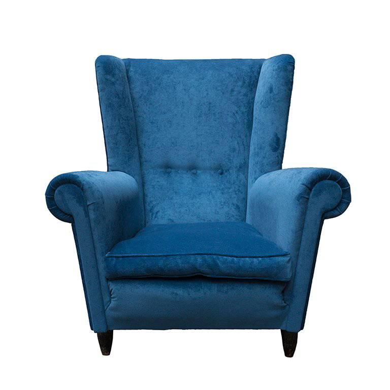 Two Chairs Velvet Blu, 1950 In Paolo Buffa Style For Sale