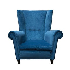 Two Chairs Velvet Blu, 1950 in Paolo Buffa Style