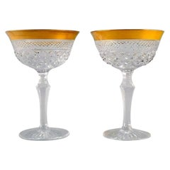 Two Champagne Glasses in Mouth-Blown Crystal Glass with Gold Edge, France, 1930s