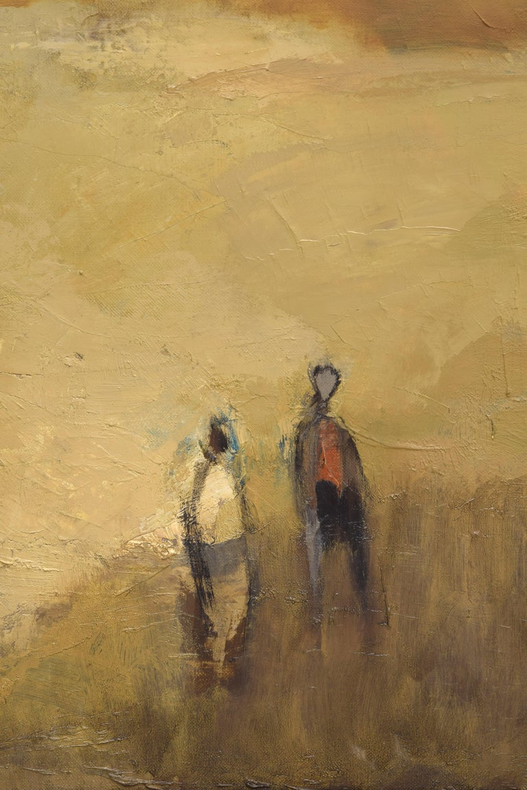 Hand-Painted Two Characters, Oil on Canvas, Martínez Novillo, Cirilo, Spain For Sale