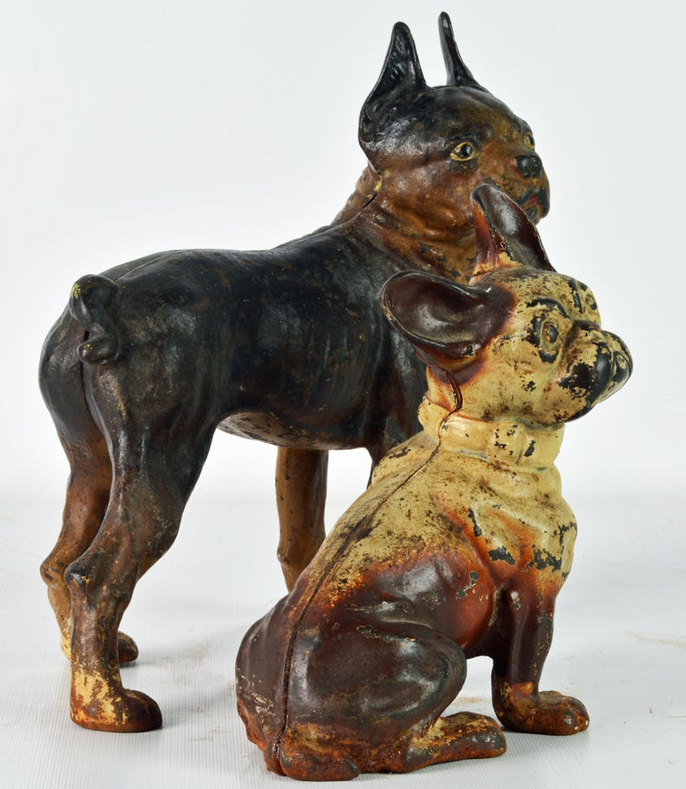 American Two Charming Early 20th Century Painted Cast Iron Door Stop Dogs