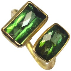 Two Chequerboard Green Tourmalines 18 Karat Gold Handmade Cocktail Ring
