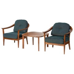 Two Cherrywood Easy Chairs with Sidetable made by Wilhelm Knoll Mid-20th Century